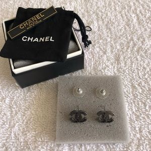 Chanel Ruthenium Globe CC Earrings